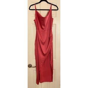 NWT-Nasty Gal Hot Pink Silk Dress w/ Slit 🎀